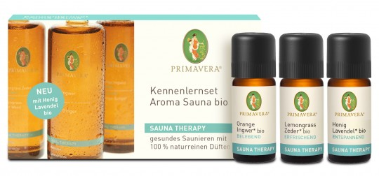 Bio Kennenlern-Set Aroma Sauna, 3 x 10 ml (Orange-Ingwer / Lemongrass-Zeder / Honig-Lavendel)