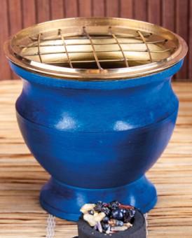 Räuchergefäß aus Messing, Emaille blau