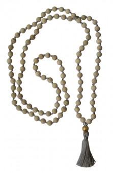 "Mala-Kette ""Vintage"" - Holz Hellbraun, Quaste Silbergrau, Perle Gold Holz weiss, Quaste Silbergrau, Perle gold"
