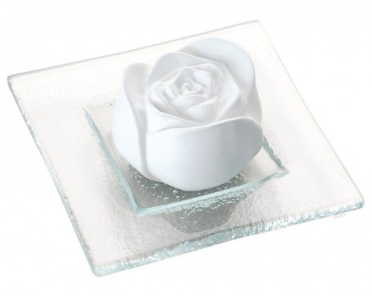 "Duftstein ""Rosenblüte"", Glasteller transparent"