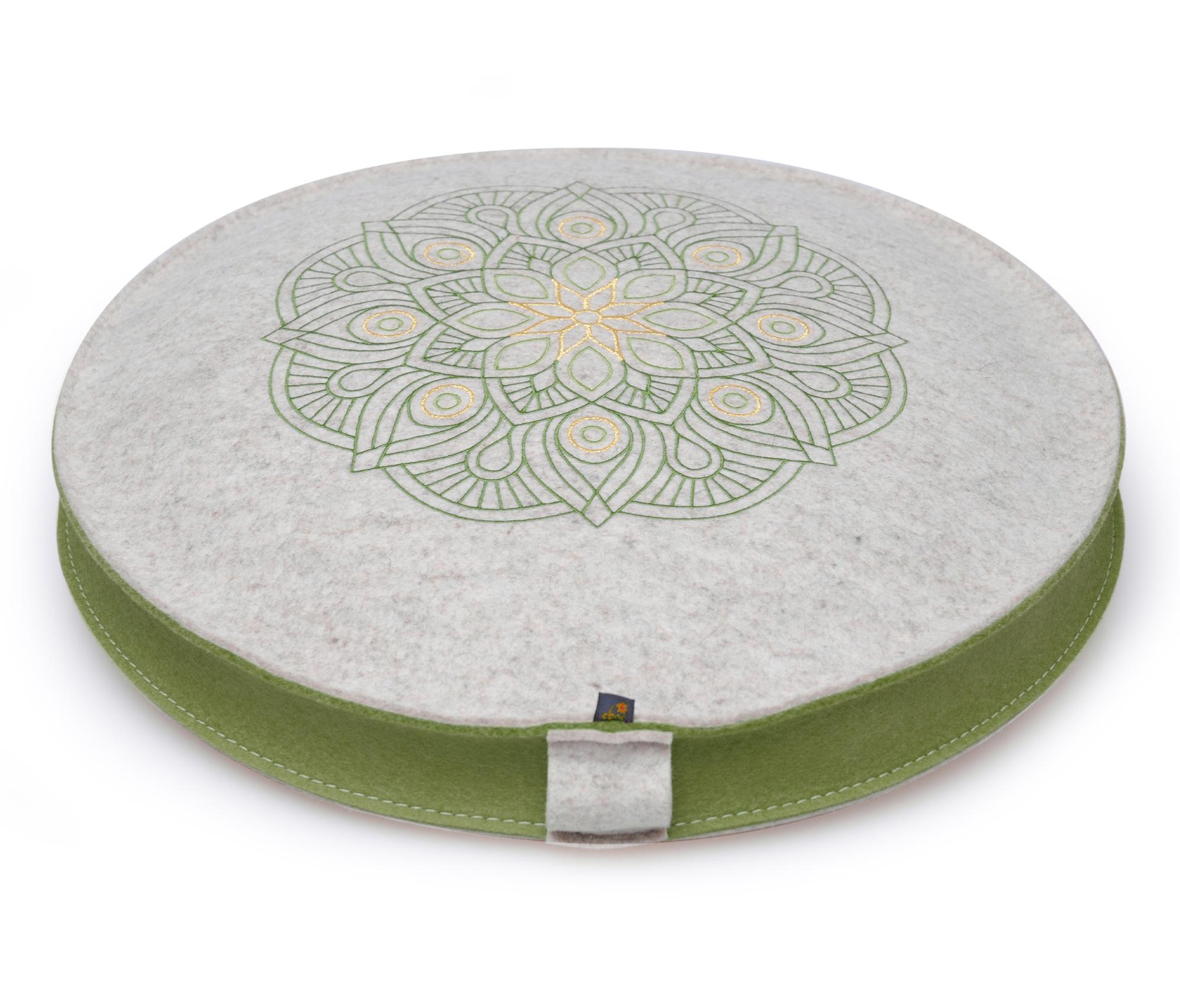 Yoga- und Meditationskissen Filz - Blume des Lebens - niedrig - 5 cm